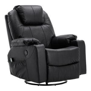 MCombo Leder Massagesessel Fernsehsessel Relaxsessel Dreh Schaukel Heizung USB manuell verstellbar 7050BK