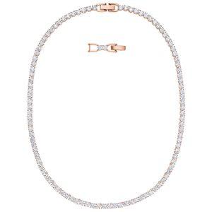 Swarovski Halskette 5494607 Tennis Deluxe, weiß, rosé vergoldet