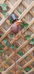 Rabe auf Stab Gartenstab Gartenstecker Beetstecker Eisen Rost 106 cm
