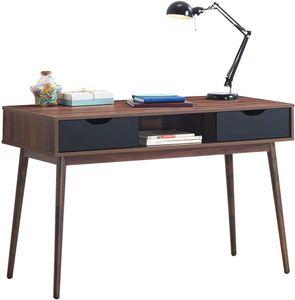 COSTWAY Schreibtisch mit offenem Fach und 2 Schubladen, Computertisch aus Holz, Arbeitstisch Vintage, Bürotisch, PC-Tisch fürs Wohnzimmer, Arbeitszimmer, Büro