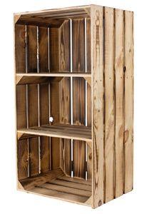 Stück geflammter/brauner hoher Holzschrank mit 2 Böden 68cm x 40cm x 31cm, Holzregal Weinkiste Regal Obstkiste