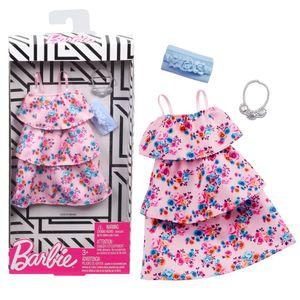 Blumen Volant-Kleid rosa | Barbie | Mattel GHW80 | Trend Mode Puppen-Kleidung