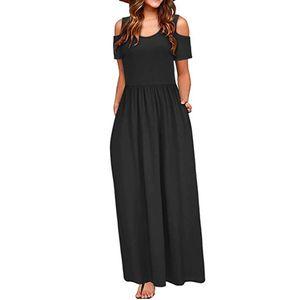 Frauen Sommer kalte Schulter Blumendruck Elegantes Maxi Langes Kleid Taschenkleid Größe:XL,Farbe:Schwarz