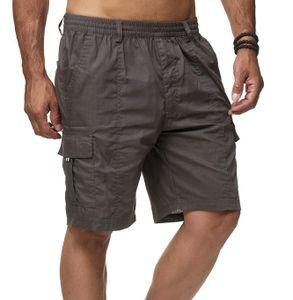 Herren Cargo Shorts Kurze Freizeit Hose Schlupfhose Leichter Stoff, Farben:Grau, Größe Hosen:L