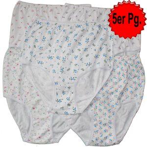 5x Baumwoll Damen Taillen Hüft Slip, L (44-46), Schlüpfer, weiß mit Blütenmuster, 100% Baumwolle