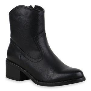 Mytrendshoe Damen Stiefeletten Cowboy Boots Kurzschaft-Stiefel Western Schuhe 835607, Farbe: Schwarz, Größe: 40
