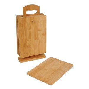 schneidebrett-Set mit Standard 29 x 15 cm Bambus braun 7-teilig