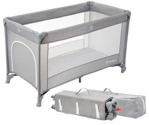Baby Reisebett und Laufstall 2in1 mit Wickelauflage und Seitenausgang ab Geburt bis 15 kg - faltbar in Grau