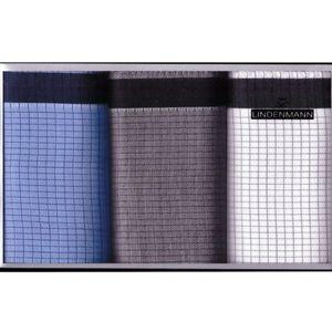 LINDENMANN Taschentücher für Herren, 3-er Packung, blau-grau-weiss, 50028-001