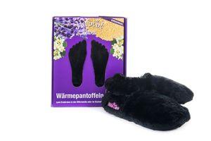 Habibi Wärmeschuhe aufheizbare Thermo Hausschuhe Fußwärmer für Mikrowelle & Ofen - schwarz, Schuhgröße L (EU 41-45)