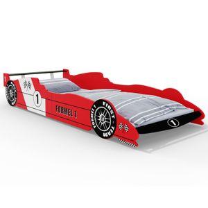 Kinderbett Formel 1 ✔200x90 cm ✔inkl. Lattenrost ✔Holz ✔rot schwarz Autobett Rennbett Bettgestell
