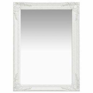 vidaXL Wandspiegel im Barock-Stil 60 x 80 cm Weiß