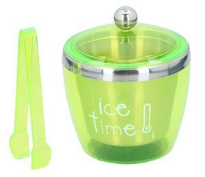 Eiskübel mit Deckel und Zange Edelstahl Eiswürfelbehälter Eiseimer Eiskühler Ice Bucket, Volumen ca. 750 ml, Farbe Grün