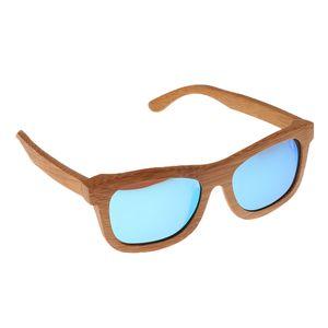 Frauen Männer Natural Bamboo Wooden Polarized Sunglasses Wood Glasses Eyewear Farbe Blau