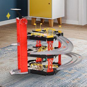 Sweiko Dreistufige 2 Loopings Kunststoff Kinderauto-Rennbahn mit 4 Autos und 1 Hubschrauber - Rot & Schwarz