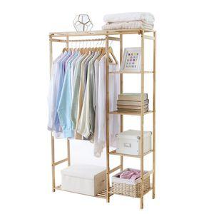 WISFOR Kleiderständer Bambus, Garderobenständer mit Ablagen, Wäscheständer mit Vorhang und Kleiderstange, Blumenregal,90x30x146.6cm