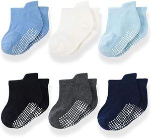 Antirutschsocken Baby Socken Bunt Stoppersocken Kinder Antirutschsocken Kinder Anti Rutsch Socken Stricken Söckchen Baby Stoppersocken für 1-3 Jahre Alte Neugeborene Mädchen, 6 Paare
