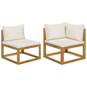 vidaXL 2-tlg. Sofa-Set mit cremeweißen Kissen Akazie Massivholz