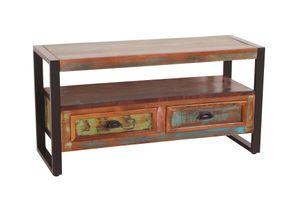 SIT Möbel Lowboard | 2 Schubladen, 1 offenes Fach | Altholz mit Metall | bunt-schwarz | B 98 x T 35 x H 50 cm | 13915-98 | Serie FIUME