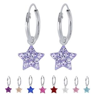 Kinder Creolen Ohrringe 925 Silber Kristall Stern, Farbe:Light Peach
