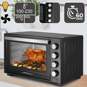 Jago® Minibackofen mit Umluft - Innenbeleuchtung, elektrisch, Doppelglastür, Timer, 100 - 230 °, 2000W, 60L, 5 Heizarten, Drehspieß, Schwarz - Mini Backofen, Mini-Küche, Grillofen, Pizza-Ofen