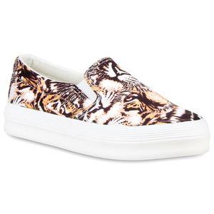 Mytrendshoe Damen Plateau Sneaker Prints Slip On Turnschuhe Freizeit Slippers 810629, Farbe: Orange, Größe: 39