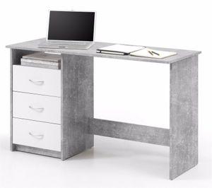 Schreibtisch Adria, Beton / Weiß, 3 Schubkästen, Bürotisch, Computertisch, 120cm