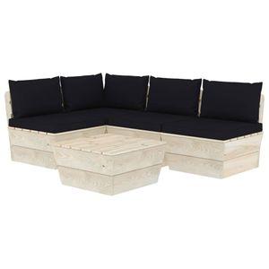 Mllaid 5-tlg. Garten-Sofagarnitur aus Paletten mit Kissen Fichtenholz