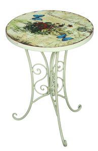 2er Set Beistelltisch FLORAL Garten Balkon Tisch rund Shabby Vintage Stil weiß