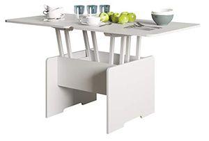 Couchtisch - höhenverstellbar - ausklappbar - Weiß - Wohnzimmer - Tisch - Funktionstisch