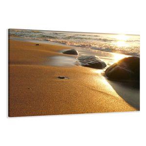 120 x 80 cm Bild auf Leinwand Strand 5035-SCT deutsche Marke und Lager  -  Die Bilder / das Wandbild / der Kunstdruck ist fertig gerahmt