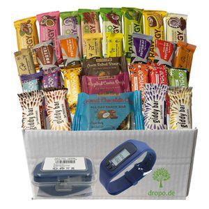 Veganes Müsliriegel Probierpaket Fitness - 25 glutenfreie Riegel ohne Zuckerzusatz mit Schrittzähler Fitnessuhr