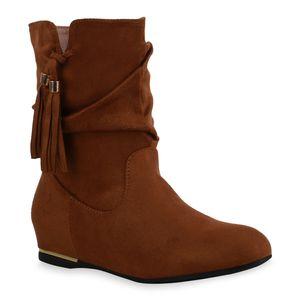 Mytrendshoe Damen Leicht Gefütterte Stiefeletten Klassische Quasten Schuhe 835462, Farbe: Hellbraun, Größe: 38
