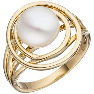 JOBO Damen Ring 54mm 585 Gold Gelbgold 1 Süßwasser Perle Perlenring Goldring