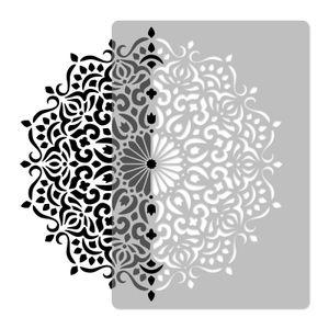 Wiederverwendbare Wandschablone aus Kunststoff // Durchmesser 59cm // GEOMETRISCH - MANDALA #3 - BLUME // Muster Schablone Vorlage
