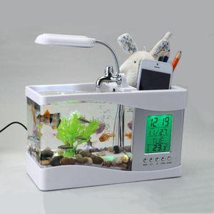 USB Desktop Aquarium Mini Aquarium Fließendes Wasser LED Licht LCD Uhr, Weiß Stifthalter