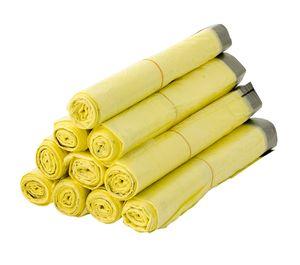 10 Rollen Gelber Sack, Gelbe Säcke 90 Liter HDPE Gelb 13 Stück pro Rolle, insgesamt 130 Stück