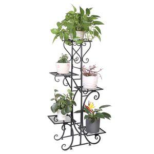 WISFOR Blumentreppe Blumenregal mit 5 Ablagen aus Metall Blumenständer Blumenregal Pflanzentreppe 107 x 22 x 57 cm