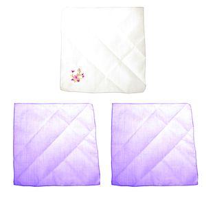 Damen Taschentuch Unifarben und mit Bestickung (3 Stück) HAND114 (Einheitsgröße) (Lavendel/Weiß)