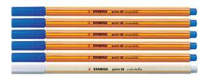 Fineliner mit löschbarer Tinte - STABILO point 88 erasable Blau 5 Stifte + 1 Tintenlöscher