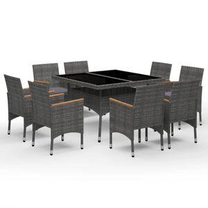 9-teiliges Outdoor-Essgarnitur Garten-Essgruppe Sitzgruppe Tisch + stuhl Poly Rattan und Akazienholz Grau