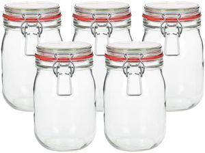 5 x 1000ml Bügelglas / Einmachglas mit Gummi und Drahtbügelverschluss (Veroline)