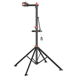SONGMICS Fahrradmontageständer tragbar   verstellbare Höhe: 101 - 171 cm   Fahrradreparaturständer mit Werkzeugschale und Lenkerhalter leicht schwarz-rot SBR06B