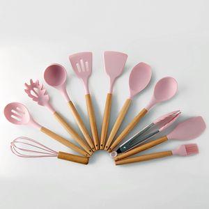 11 Stück Silikon Küchenutensilien Set mit Holzgriff, rosa