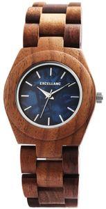 Excellanc Uhr Holz Armbanduhr braun blau 1800192-003