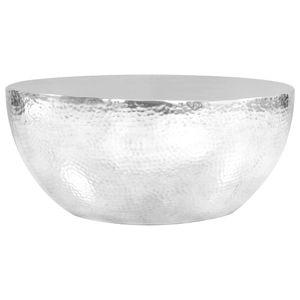 vidaXL Couchtisch aus Gehämmertem Aluminium 70 x 30 cm Silbern