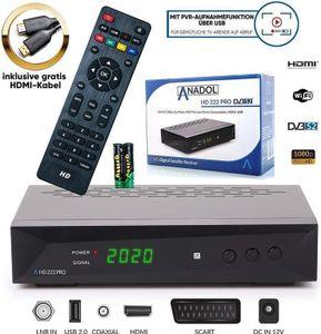 Anadol HD 222 Pro 1080P Digital HDTV Sat-Receiver für Satellitenfernseher - Timeshift, Multimedia- & Aufnahmefunktion - Astra & Hotbird vorinstalliert - HDMI, SCART, USB, DVB-S/S2, gratis HDMI Kabel