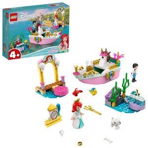 LEGO 43191 Disney Princess Arielles Festtagsboot Spielzeug, Arielle, die Meerjungfrau Set für Kinder ab 4 Jahren