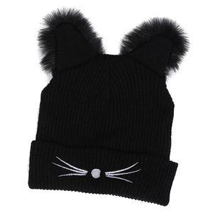 Winter Strickmütze Mit Katzenohren Damen Warme Beanie Caps Ski Hut