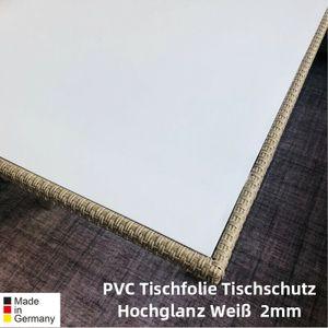 Weiß PVC Tischfolie Tischschutz Hochglanz Weiß Stärke 2mm 90x90cm(+Toleranz)